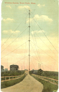 A postcard of an early radio tower, 1910.  Via Wikimedia Commons