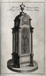 This clock was wound by changes in atmospheric pressure. You could see it as a perpetual motion machine that actually worked. Engraving by J. Lodge, 1774. Via Wikimedia Commons