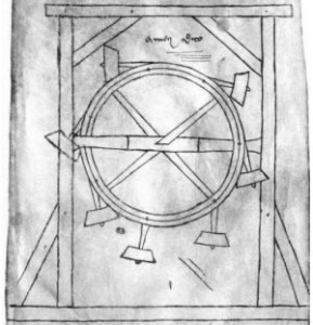 A over-balance-type perpetual motion machine that appeared in Villard de Honnecourt's sketch book in 1230. Via Wikipedia Commons