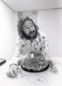 Seymour Papert, creator of Logo, with a mechanical version of the Logo Turtle. Via Computer Science Museum.