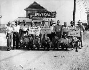 Black steelworkers on strike in the 1930s or 40s. Black steel workers were strong supporters of unionization. United Steelworkers of America, District 36 records, 1931-1948, Historical Collections and Labor Archives, Special Collections Library, University Libraries, Pennsylvania State University.